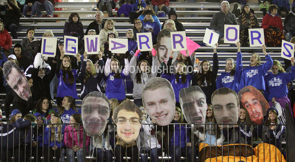 Lake George boys' soccer fans cheer for their team before the start of a Class C state semifinal game at Faller Field in Middletown on Nov. 16, 2013. (Tom Bushey – Special to The Post-Star)