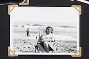 summer beach scene vintage photo in album