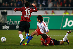 26.11.2011, AWD Arena, Hannover, GER, 1.FBL, Hannover 96 vs Hamburger SV, im Bild Heung Min Son (Hamburg #15) foult Christian Schulz (Hannover #19) // during the Match GER, 1.FBL, Hannover 96 vs Hamburger SV, AWD Arena, Hannover, Germany, on 2011/11/26. EXPA Pictures © 2011, PhotoCredit: EXPA/ nph/ Schrader..***** ATTENTION - OUT OF GER, CRO *****