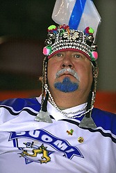 Fan from Finland at ice-hockey match Germany (played in old replika jerseys from year 1946) vs Slovakia at Preliminary Round (group C) of IIHF WC 2008 in Halifax, on May 05, 2008 in Metro Center, Halifax, Nova Scotia, Canada. Germany won 4:2. (Photo by Vid Ponikvar / Sportal Images)