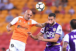January 18, 2018 - Brisbane, QUEENSLAND, AUSTRALIA - Massimo Maccarone of the Roar (#9, left) and Xavier Torres of the Glory (#8) compete for the ball during the round seventeen Hyundai A-League match between the Brisbane Roar and the Perth Glory at Suncorp Stadium on January 18, 2018 in Brisbane, Australia. (Credit Image: © Albert Perez via ZUMA Wire)
