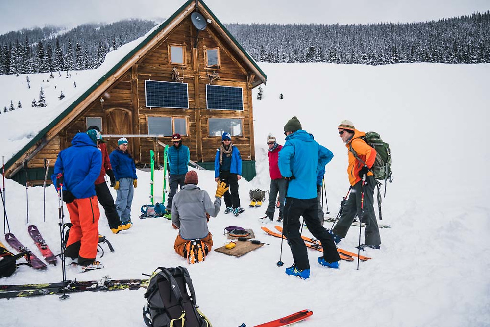 The safety talk at the Burnie Glacier Chalet, Howson Range, British Columbia.