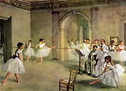 Ballet Rehearsal on the Set (1874) by Edgar Degas (19 July 1834 – 27 September 1917), French artist famous for his work in painting, sculpture, printmaking and drawing. He is regarded as one of the founders of Impressionism although he rejected the term,