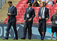 Football - 2017 FA Cup Final - Arsenal vs. Chelsea<br /> <br /> Chelsea players Marcos Alonso, Asmir Begovic and Eduardo take in the atmosphere at Wembley.<br /> <br /> COLORSPORT/DANIEL BEARHAM