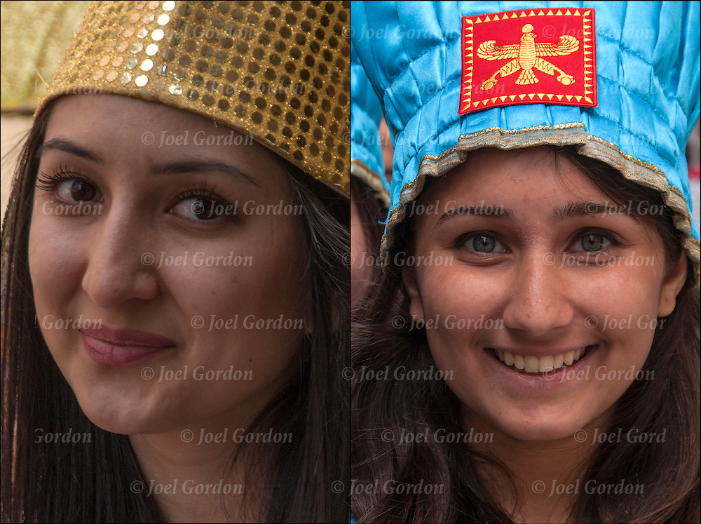 Diptych of two head and shoulder portraits of smiling Iranian American young teenage girls, dressed in transitional folk costume from both Persia and Iran showing her ethnic pride, before the start of the 2015  Persian Iranian Parade in New York.