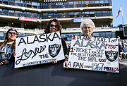 Dec 3, 2017; Oakland, CA, USA;  Oakland Raider fans prior an NFL game against the New York Giants at -Alameda County Coliseum.