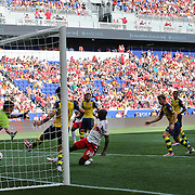 Bradley Wright_Phillips, New York Red Bulls, pokes home his sides winner in the 1-0 victory during the New York Red Bulls Vs Arsenal FC,  friendly football match for the New York Cup at Red Bull Arena, Harrison, New Jersey. USA. 26h July 2014. Photo Tim Clayton