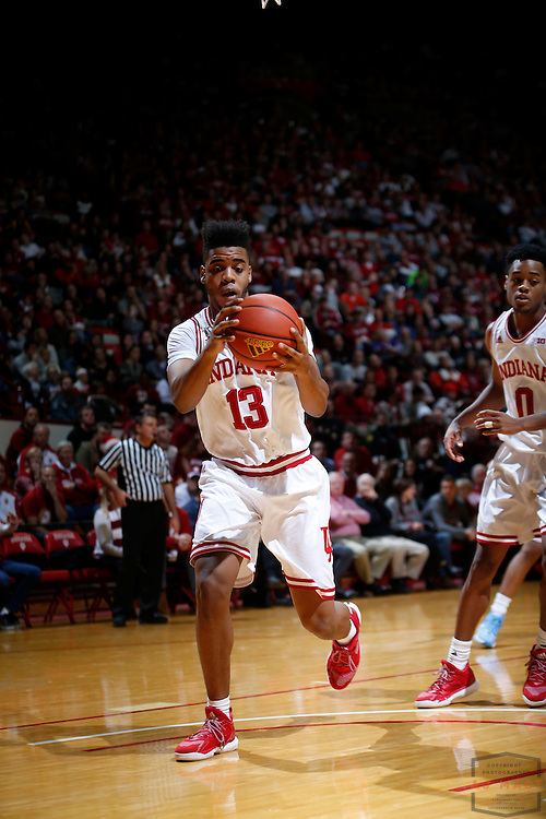 Indiana forward Juwan Morgan (13) in action as Delaware State played Indiana in an NCCA college basketball game, in Indianapolis, Monday, Dec. 19, 2016. (AJ Mast)