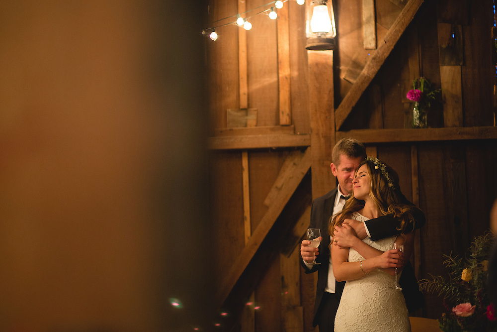 Shannon Springer and Jyri Kidwell host a DIY wedding in the barn at Mann Ranch in Bolinas, California.