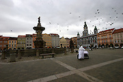 Ceske Budejovice/Czech Republic, CZE, 12.12.06: The main square in Ceske Budejovice (Budweis). The Budweiser Budvar brewery is located in Ceske Budejovice and is one of the most successful food-production enterprises for many years in the Czech Republic. Almost half of the production is successfully exported into more than 50 countries in the world.