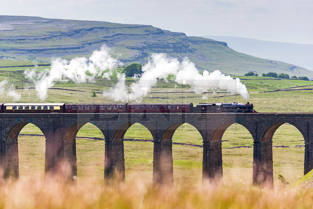 © Licensed to London News Pictures. 05/06/2018. Ribblehead UK. The 1936 Locomotive LMS 45690 pulls the Dalesman over Ribblehead viaduct in the shadow of Ingleborough mountain on it's journey from York to Carlisle in the Yorkshire Dales today. Photo credit: Andrew McCaren/LNP