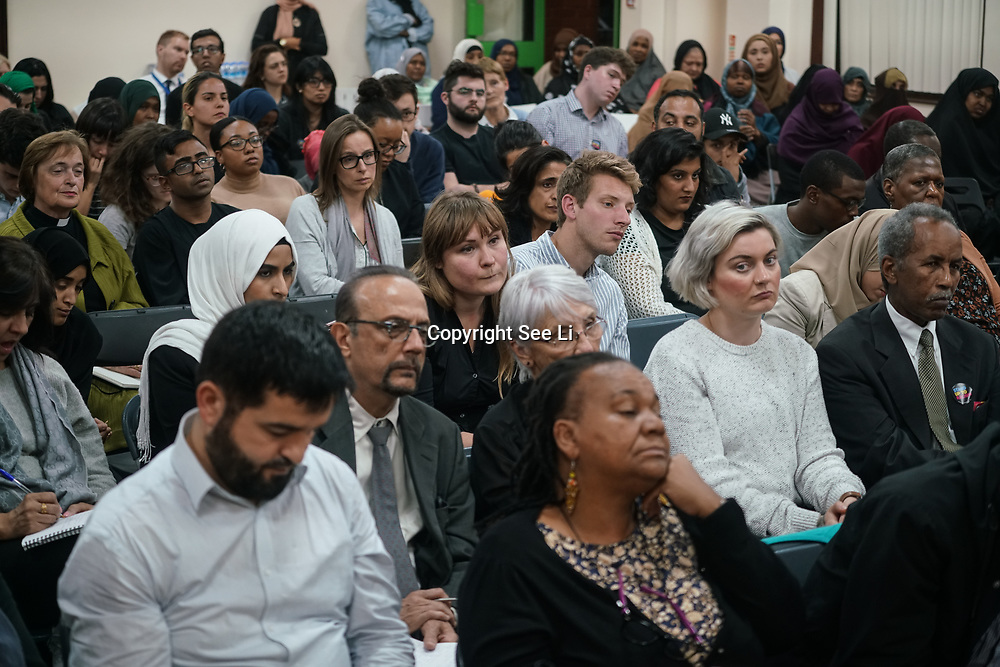 London, Uk. 15th October 2017. Finsbury Park Mosque hosts Hate Crime Against Muslim Women rising Jeremy Corbyn Mp's is a Labour leader join the discussion Hate Crime Against Muslim Women and local police officer come to supports the community. And suggest hate crime must be reported to the police or other organization.