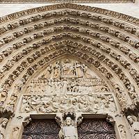 France, Paris, Exterior of statues of Jesus Christ, the Apostles and saints at the entrance to Cathédrale Notre Dame de Paris on Île de la Cité