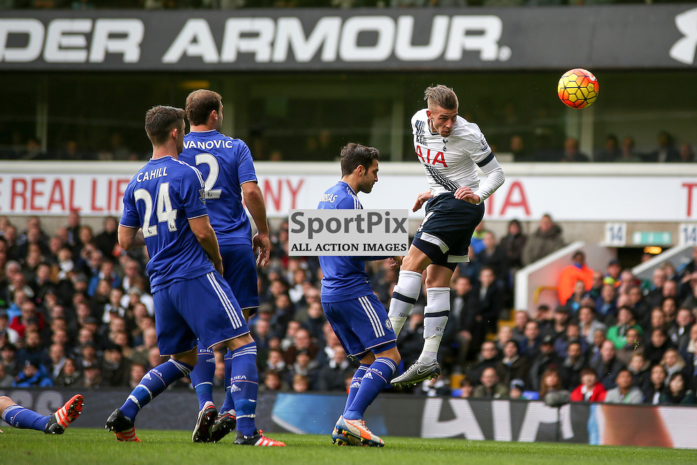 Toby Alderweireld heads at goal During Tottenham Hotspur vs Chelsea on Sunday the 29th November 2015.