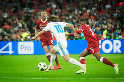 Luka Modric of Real Madrid vs Georginio Wijnaldum of Liverpool during the UEFA Champions League final football match between Liverpool and Real Madrid at the Olympic Stadium in Kiev, Ukraine on May 26, 2018.Photo by Sandi Fiser / Sportida