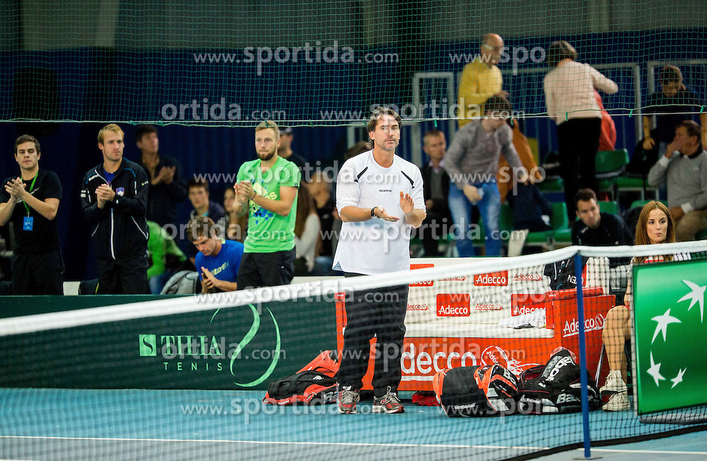 Blaz Trupej during Davis Cup Slovenia vs Lithuania competition, on October 30, 2015 in Kranj, Slovenia. Photo by Vid Ponikvar / Sportida