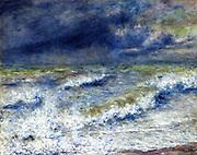La vague' (The Wave'), 1879. Oil on canvas.  Pierre-Auguste Renoir (1841-1919) French painter.  Wave breaking on the shore. Seascape.