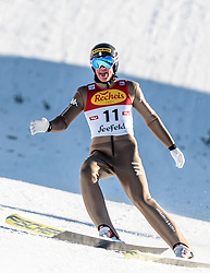 30.01.2016, Casino Arena, Seefeld, AUT, FIS Weltcup Nordische Kombination, Seefeld Triple, Skisprung, Wertungssprung, im Bild Samuel Costa (ITA) // Samuel Costa of Italy reacts after his Competition Jump of Skijumping of the FIS Nordic Combined World Cup Seefeld Triple at the Casino Arena in Seefeld, Austria on 2016/01/30. EXPA Pictures © 2016, PhotoCredit: EXPA/ JFK