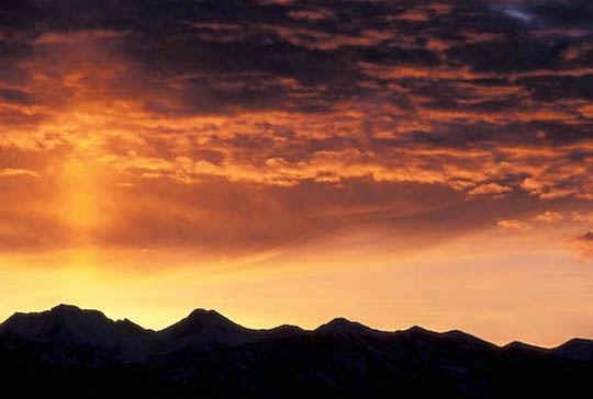 Sunrise over the Crazy mountains of Southwest Montana.