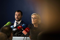 October 8, 2018 - Rome, Italy - French far right National Rally (RN) party leader Marine Le Pen attends a news conference with Italy's Interior Minister  Matteo Salvini at the headquarters of the Unione Generale del Lavoro (UGL, General Union of Labor) trade union in Rome, Italy on  October 8, 2018. (Credit Image: © Christian Minelli/NurPhoto/ZUMA Press)
