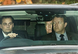 © Licensed to London News Pictures. 03/11/2017. Sevenoaks, UK. Former Defence Secretary Sir Michael Fallon is seen sitting in the back of a car as he leaves Weald of Kent Grammar School in Sevenoaks. Photo credit: Peter Macdiarmid/LNP