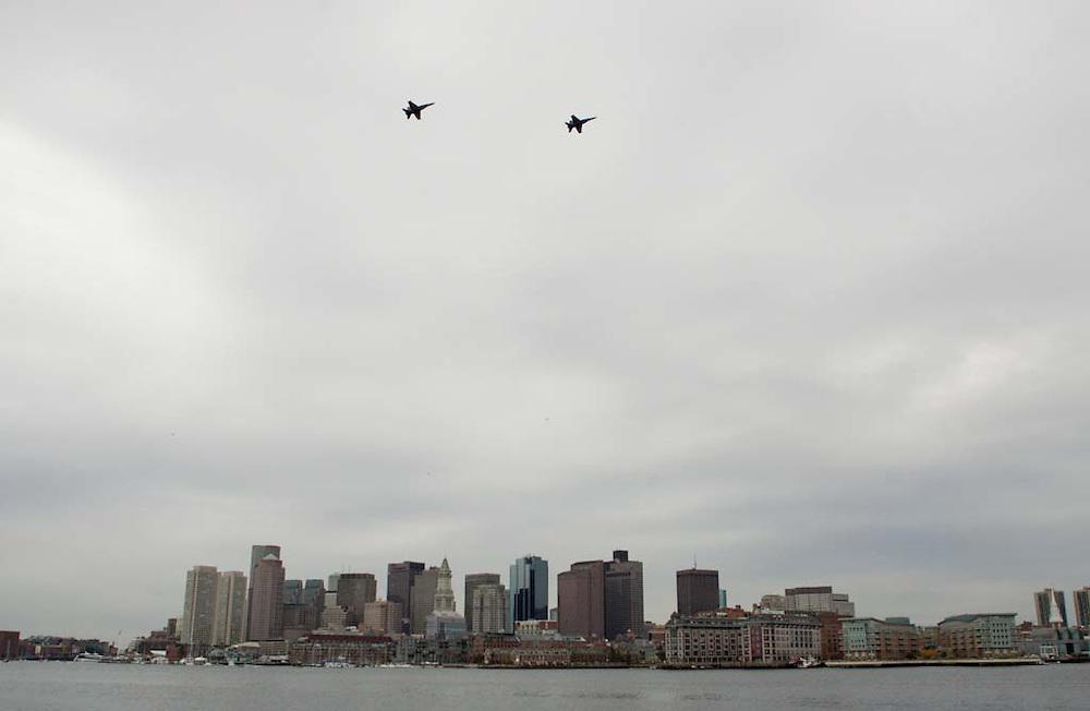 Boston, MA 11/17/2011.Two Blue Angels pilots fly over Boston on a practice run Thursday, November 17, 2011..Alex Jones / www.alexjonesphoto.com
