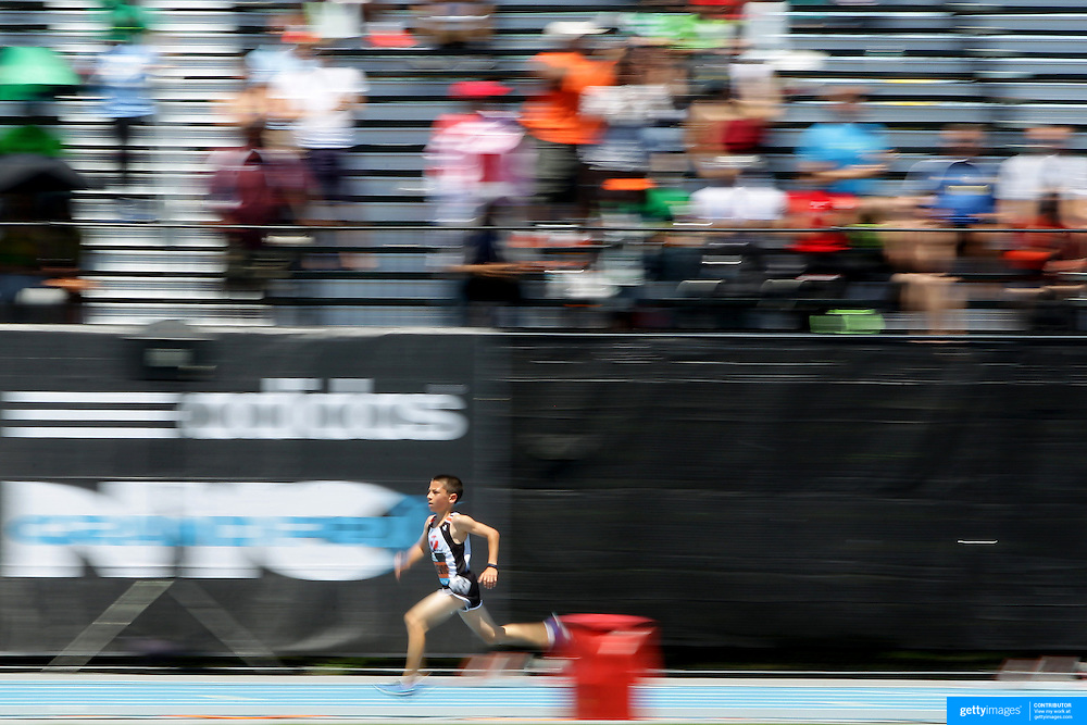Jonah Gorevic, USA, winning the one mile men youth boys comeptition at the Diamond League Adidas Grand Prix at Icahn Stadium, Randall's Island, Manhattan, New York, USA. 13th June 2015. Photo Tim Clayton