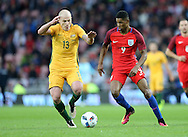 Marcus Rashford (r) of England and Aaron Mooy of Australia during the International Friendly match at the Stadium Of Light, Sunderland<br /> Picture by Simon Moore/Focus Images Ltd 07807 671782<br /> 27/05/2016