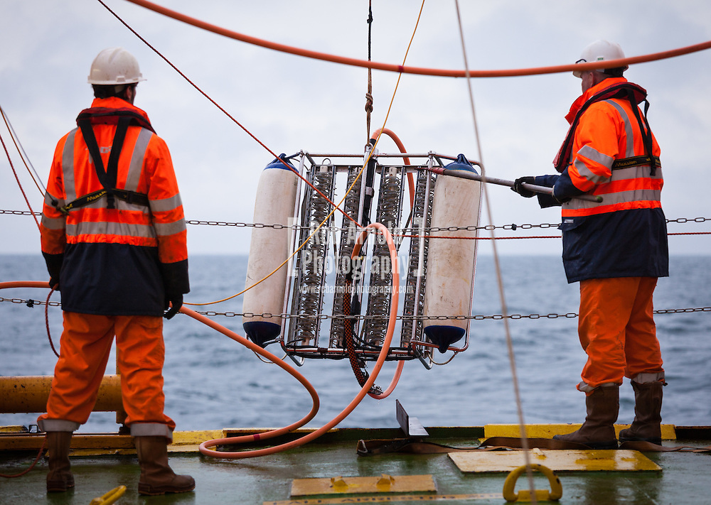 Fugro Survey B.V. conduct streamer deployment aboard the MV Aurelia on a UHR seismic and UXO survey for DONG Energy