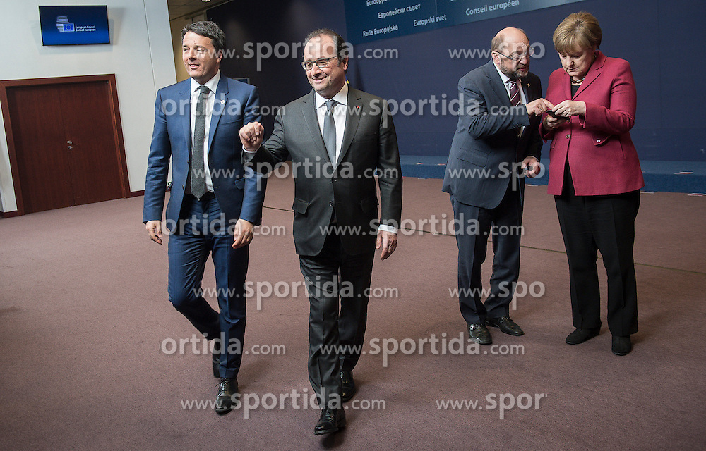 (L-R) Italian Prime Minister Matteo Renzi, French President Francois Holland, Martin Schulz, the president of the European Parliament and German Federal Chancellor Angela Merkel during family photo at the first day of EU leaders summit on migration at European Council headquarters in Brussels, Belgium on 17.03.2016. EXPA Pictures &copy; 2016, PhotoCredit: EXPA/ Photoshot/ Wiktor Dabkowski<br /> <br /> *****ATTENTION - for AUT, SLO, CRO, SRB, BIH, MAZ, SUI only*****