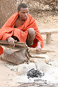 Gidonwoduk. The former Datoga blacksmith tribe. Today they are a separate tribe. They do not marry with Datoga since they discovered the secrets of blacksmithing. Photographed in Africa, Tanzania, Lake Eyasi