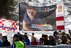 Fans of Hannes Reichelt of Austria during 2nd Rund of Men's Giant Slalom of FIS Ski World Cup Alpine Kranjska Gora, on March 5, 2011 in Vitranc/Podkoren, Kranjska Gora, Slovenia.  (Photo By Vid Ponikvar / Sportida.com)