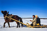 Pete & Renee on Sled<br /> Darkhadyn Khotgor Depression<br /> Northern Mongolia
