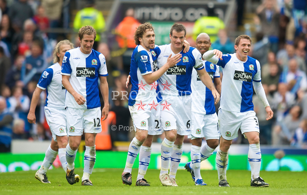 BLACKBURN, ENGLAND - Sunday, April 26, 2009: Blackburn Rovers' Ryan Nelsen celebrates scoring the second goal against Wigan Athletic during the Premiership match at Ewood Park. (Photo by David Rawcliffe/Propaganda)