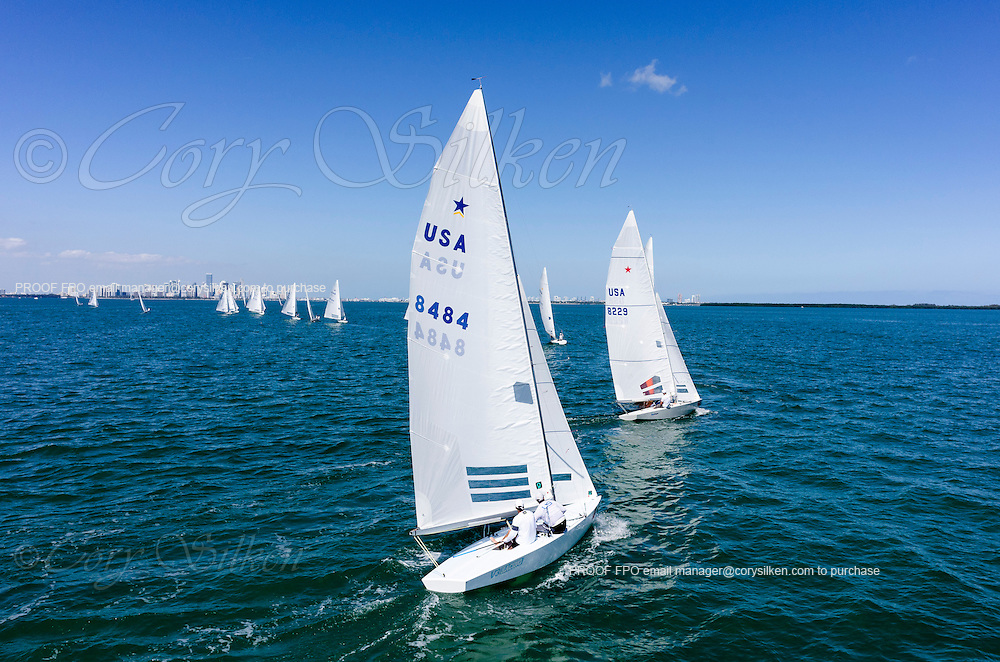 8484 Star Class sailing in Bacardi Miami Sailing Week, day one.