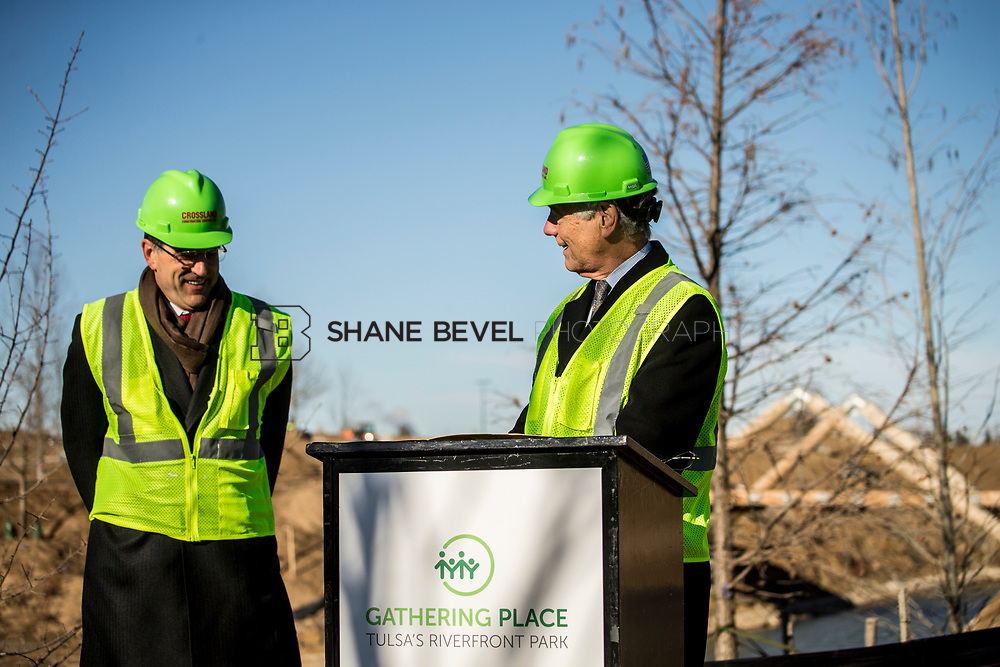 1/12/18 11:07:06 AM -- Halliburton CEO Jeff Miller and George Kaiser visit the Gathering Place for a press conference announcing Halliburton's support for the park. <br /> <br /> Photo by Shane Bevel