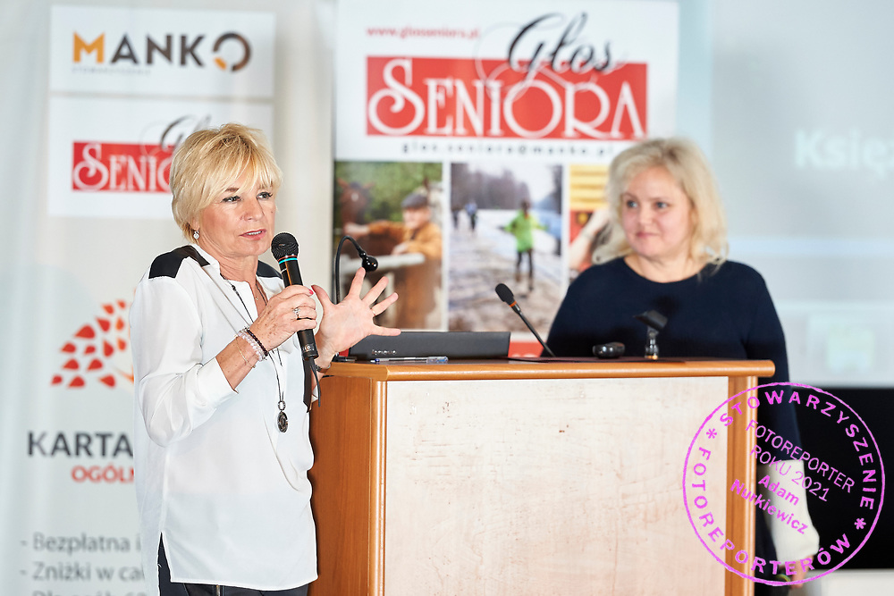 Warsaw, Poland - 2017 April 07: (L) Ewa Zielecka - Kuczera - Prezes Stowarzyszenia Kilimandzaro speaks during The Day of Health - science conference in the National Library on April 07, 2017 in Warsaw, Poland.<br /> <br /> Mandatory credit:<br /> Photo by © © Adam Nurkiewicz / Mediasport / Mediasport<br /> <br /> Picture also available in RAW (NEF) or TIFF format on special request.<br /> <br /> Any editorial, commercial or promotional use requires written permission from the author of image.<br /> <br /> Adam Nurkiewicz declares that he has no rights to the image of people at the photographs of his authorship.