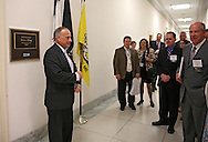 Representative Steve King (R-IA) talks to a group of people outside his office in the Rayburn House Office Building in Washington, DC on Tuesday, April 16, 2013.