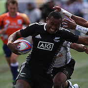 NZ 7's David Raikuna scores a second half try in the Cup Semi Finals over Fiji in their 19-14 victory at the USA Sevens Rugby at Sam Boyd Stadium, Las Vegas, Nevada, USA.  Photo by Barry Markowitz, 2/10/13.  Courtesy Samoa Tuna Processors/Tri Marine