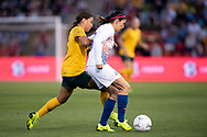 NEWCASTLE, NSW - NOVEMBER 13: Chilean defender Carla Guerrero (3) and Australian forward Samantha Kerr (20) fight for the ball at the international women's soccer match between Australia and Chile at McDonald Jones Stadium in NSW, Australia. (Photo by Speed Media/Icon Sportswire)