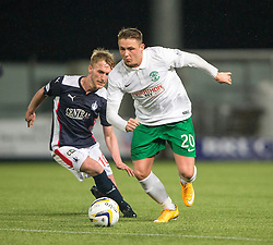 Falkirk's Craig Sibbald and Hibernian's Scott Allan.<br /> Falkirk 1 v 0 Hibernian, Scottish Championship game played 6/12/2014 at The Falkirk Stadium .