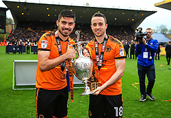 Free to use courtesy of Sky Bet - Ruben Neves and Diogo Jota of Wolverhampton Wanderers celebrate after lifting the Sky Bet Championship 2017/18 league trophy - Mandatory by-line: Matt McNulty/JMP - 28/04/2018 - FOOTBALL - Molineux - Wolverhampton, England - Wolverhampton Wanderers v Sheffield Wednesday - Sky Bet Championship