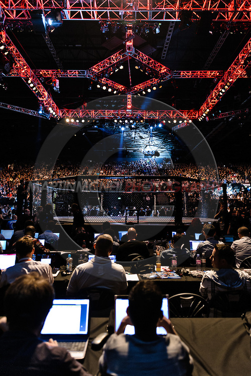 "BIRMINGHAM, ENGLAND, NOVEMBER 5, 2012: A view from the media seats during ""UFC 138: Munoz vs. Leben"" inside the National Indoor Arena in Birmingham, United Kingdom"