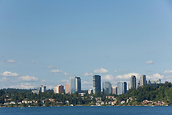 North America, United States, Washington, Bellevue, downtown skyscrapers and homes on Lake Washington