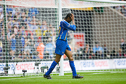 LONDON, ENGLAND - Saturday, May 17, 2008: Portsmouth's Nwankwo Kanu looks dejected after missing an easy chance against Cardiff City during the FA Cup Final at Wembley Stadium. (Photo by Chris Ratcliffe/Propaganda)