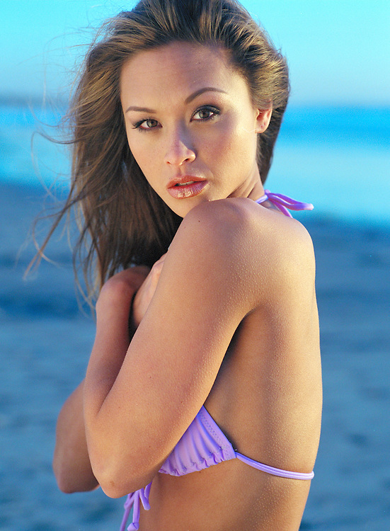 Fashion and Beauty Photography - Michelle photographed in a lavender swimsuit photographed in San Diego, CA