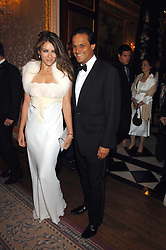 LIZ HURLEY and ARUN NAYAR at the Ark 2007 charity gala at Marlborough House, Pall Mall, London SW1 on 11th May 2007.<br />