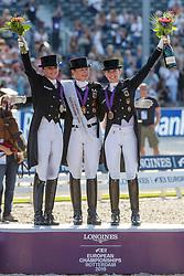 SCHNEIDER Dorothee (GER), WERTH Isabell (GER), VON BREDOW-WERNDL Jessica (GER)<br /> Rotterdam - Europameisterschaft Dressur, Springen und Para-Dressur 2019<br /> Medal ceremony: Dressage Individual - Longines FEI Dressage European Championship- Grand Prix Freestyle<br /> Grand Prix Kür<br /> 24. August 2019<br /> © www.sportfotos-lafrentz.de/Stefan Lafrentz