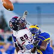 11/12/11 Newark DE: Richmond WR #29 Stephen Barnette attempts to catch a pass as Delaware Cornerback Tim Breaker #3 defends during a Week 10 NCAA football game.<br /> <br /> Delaware defeated Richmond 24-10 in front of 18, 808 fans at Delaware Stadium on Saturday Nov. 12, 2011 in Newark Delaware.<br /> <br /> Special to The News Journal/SAQUAN STIMPSON