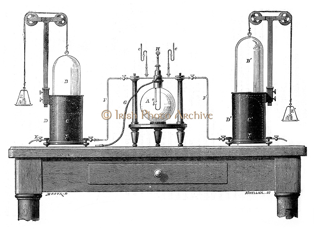 Lavoisier's apparatus for synthesizing water from hydrogen (left) and oxygen (right). From Robert Routledge 'A Popular History of Science', London, 1881. Antoine Laurent Lavoisier (1743-94) French chemist. Engraving